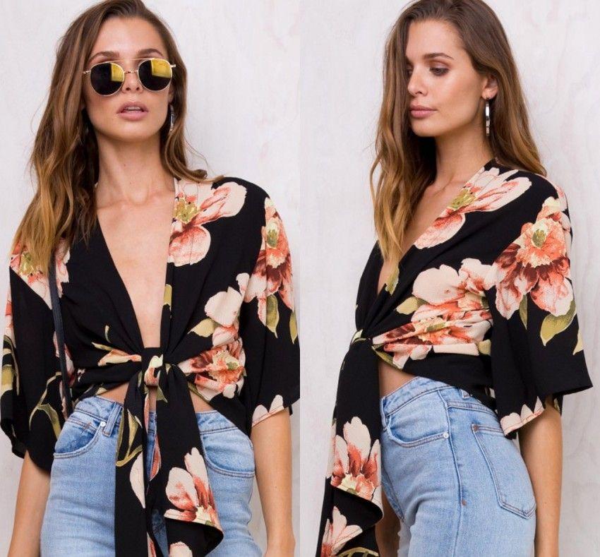 be826200a4d Sexy Black Short Sleeve Loose Women Blouser Deep V Neck Boho Style T Shirt  Floral Print Elegant Tops Summer Beach Blusa FS5514 Fun Tshirts Party T  Shirts ...