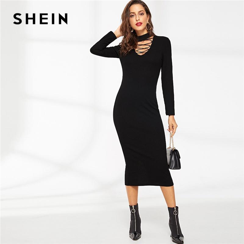 322410e3e2 SHEIN Black Elegant Solid Crisscross Choker Neck Ribbed Pencil Long Sleeve  Dress Autumn Party Women Dresses Girls Dress Bridal Dress From Feiyancao,  ...
