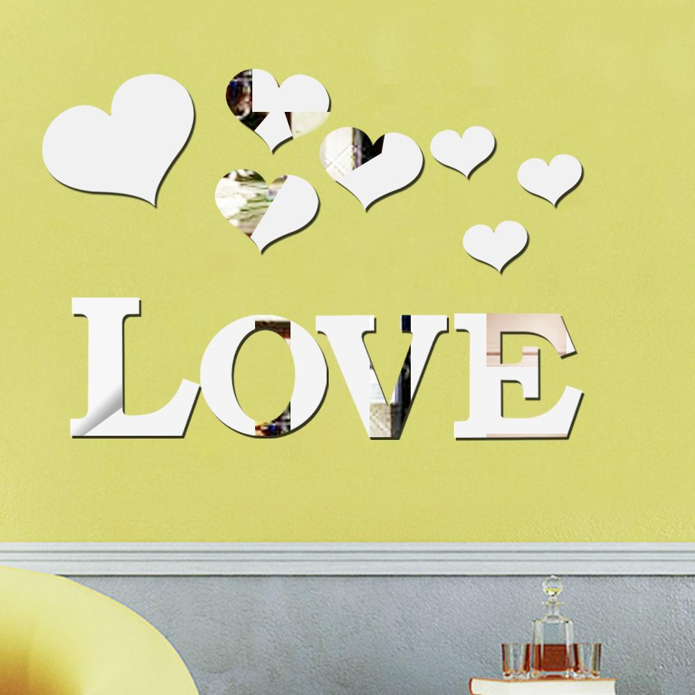 Love Heart Acrylic 3d Mirror Wall Sticker Mural Decal Removable ...