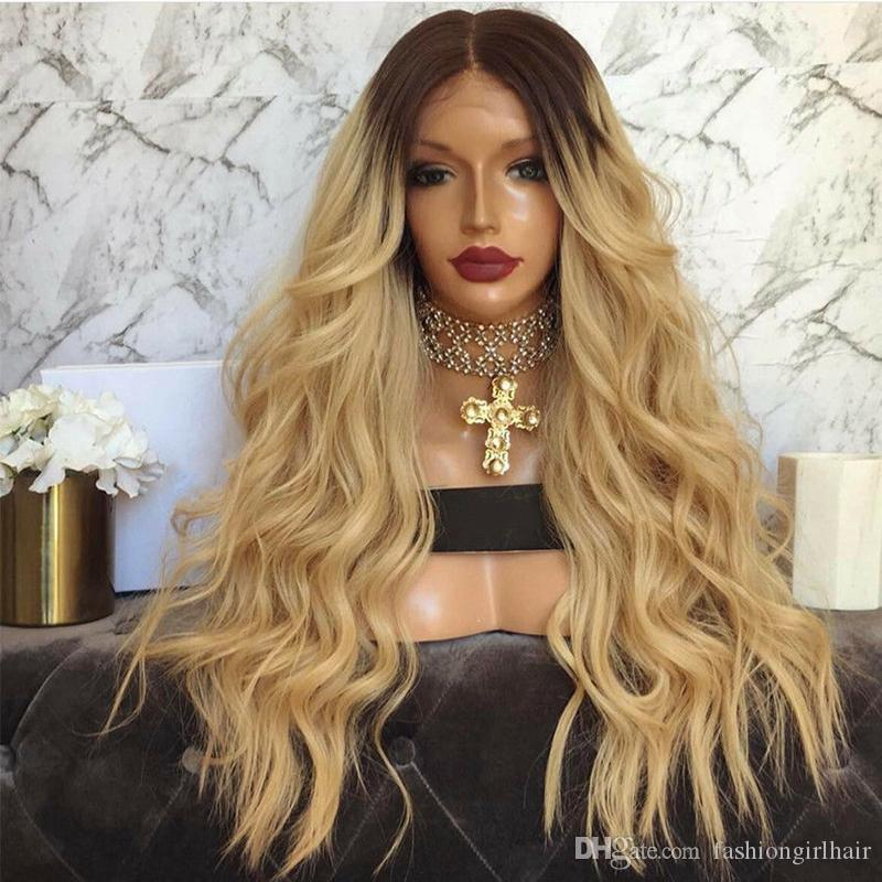 Stock Long Blonde Wig With Dark Roots Ombre Blonde Lace Front Wig With Baby  Hair Heat Resistant Synthetic Wigs For Women Wigs For Black Hair Lace Wig  Front ... 9ef6ce1469