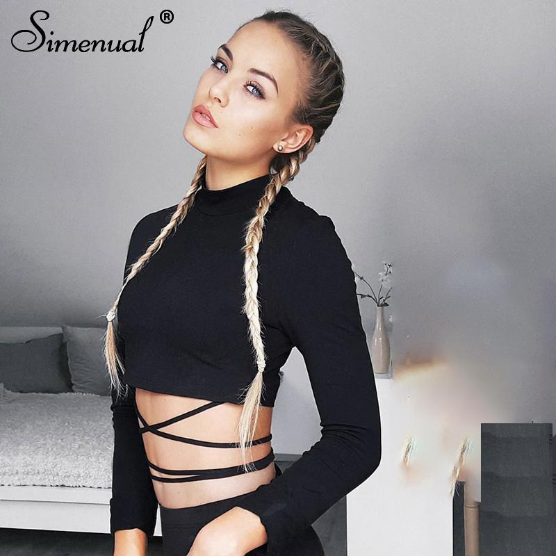 c8e09fe6c241c4 Simenual Fashion Autumn T Shirt Women Crop Top Autumn Clothes Lace Up  Strappy Slim Sexy Black Female T Shirt Turtleneck Tops Tee Buy Online T  Shirts Make ...