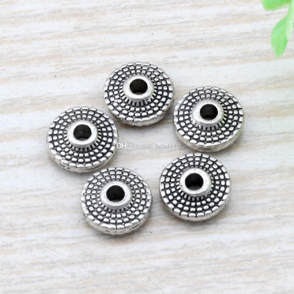 en alliage de zinc argenté ancien de zinc rond en palettes en pointillé cordons pour bijoux fabrication de bracelet collier bricolage accessoires 8x3mm d9