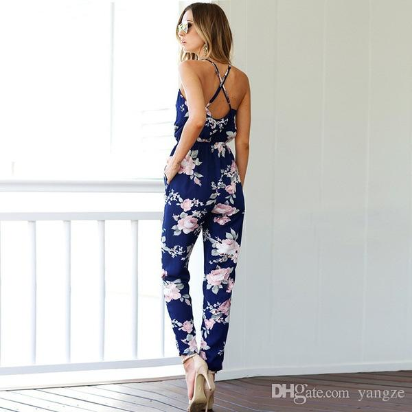 2018 New Style Casual Rompers Women Sling V-Neck Floral Printing Jumpsuits With Elastic Waist Belt RF0938