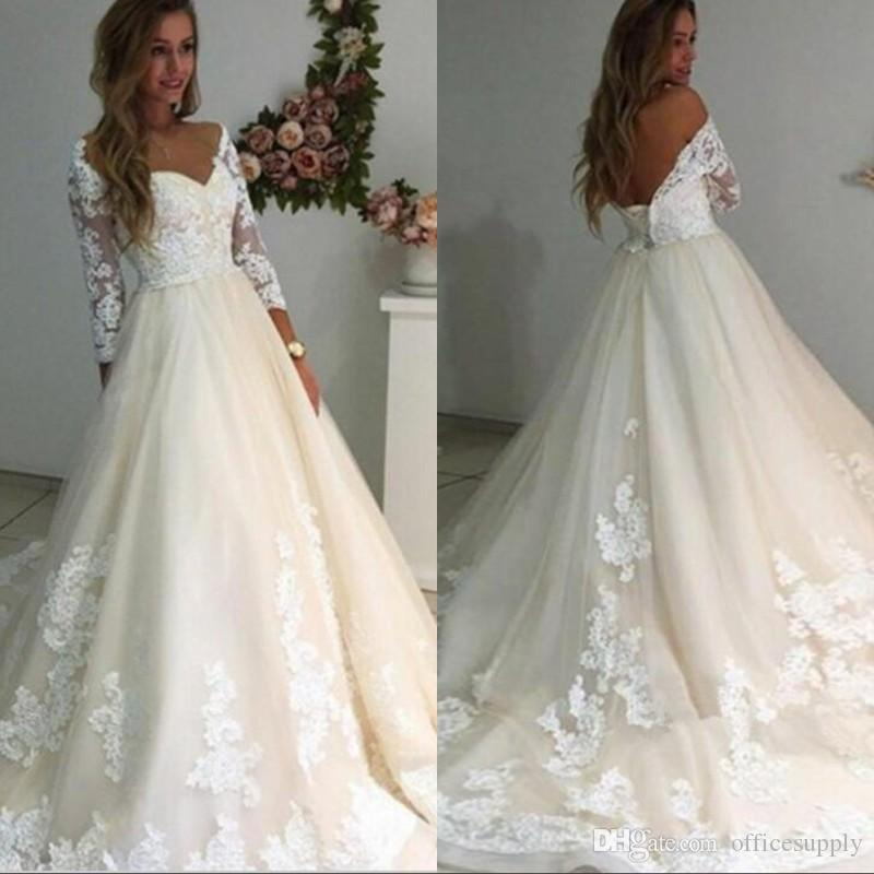 900b9944a92b Discount Luxury Lace Off The Shoulder Wedding Dresses 2019 Long Sleeves A  Line Bridal Gowns Sheer Corset Back Sweep Train Wedding Gowns Sale Wedding  Dresses ...
