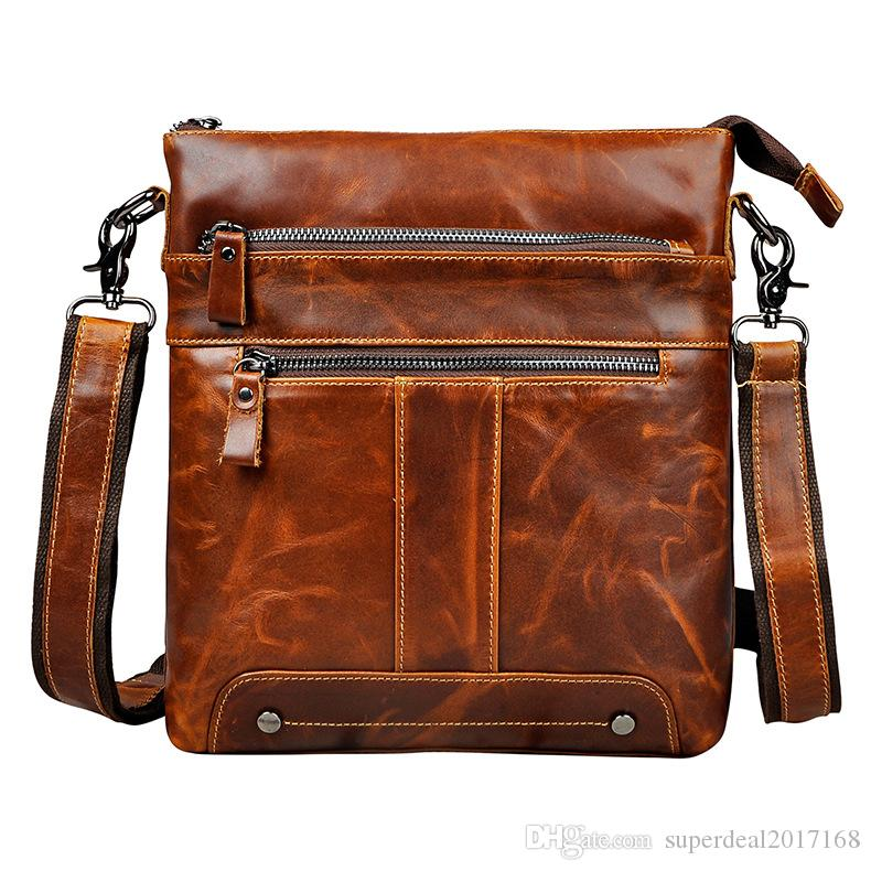 c1f0ab7d6ec8 Crazy Horse Cow Leather Hand Made Casual Messenger Bags Men S Cowhide Cross  Body Shoulder Bags Male Travel Pack Totes Wallets For Women Ladies Handbags  From ...