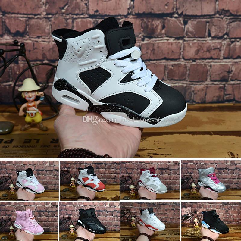 superior quality 8d56c d969d Acheter Nike Air Jordan 6 12 13 Retro 6 Chaussures De Basket Carmine  Enfants 6s UNC Noir Bleu Blanc Infrarouge Garçons Filles Oreo Noir Chat  Chaussures De ...