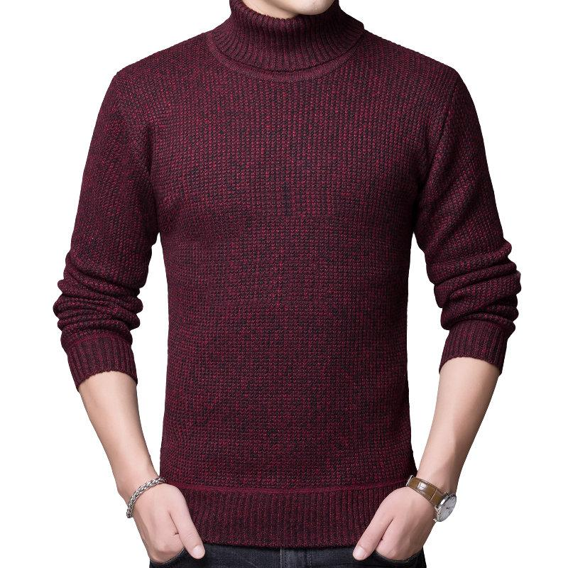 Man Plain Knitted Pullover Sweater Men Turtle Neck Knitted Tops Mens Slim Fit Knitwear Male Thicken Fleece Pullover Sweaters Red