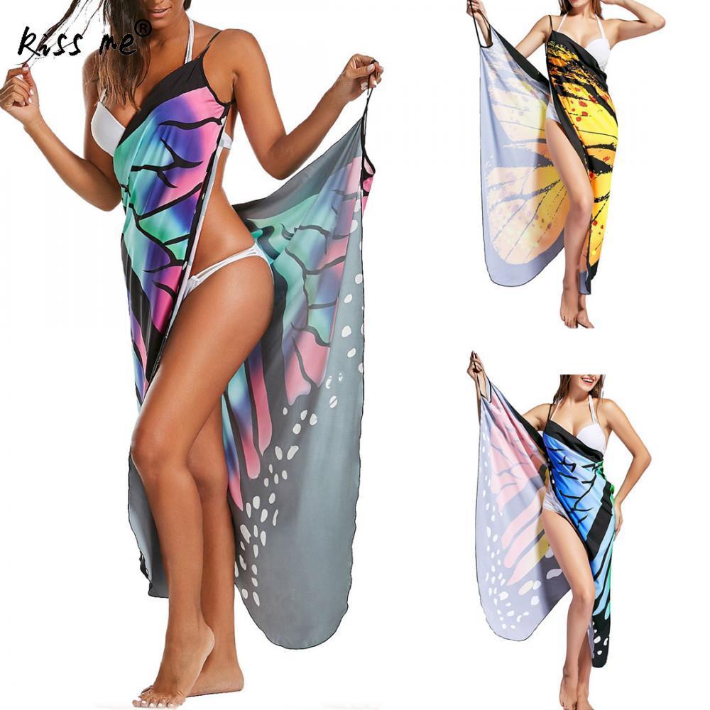 d8029da94 Compre Beach Cover Up Impreso Playa Vestido Túnica 2018 Verano Sarongs  Mujer Vestidos Multifunción Traje De Baño Mariposa Tipo Mujeres Túnicas A   19.47 Del ...