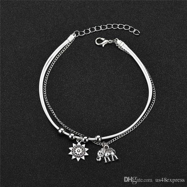 51fb39f3eba 2019 Vintage Star Elephant Anklets Bracelet For Women Boho Pendent Double  Layer Anklet Bohemian Foot Jewelry Gift Factory Wholesale From Us48express