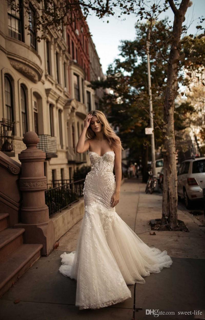Berta 2019 Sirena Vestidos de novia Con cuentas Sash Volver Cremallera Vintage Lace Ilusion Boda Vestidos de novia Sin respaldo Más el tamaño por encargo