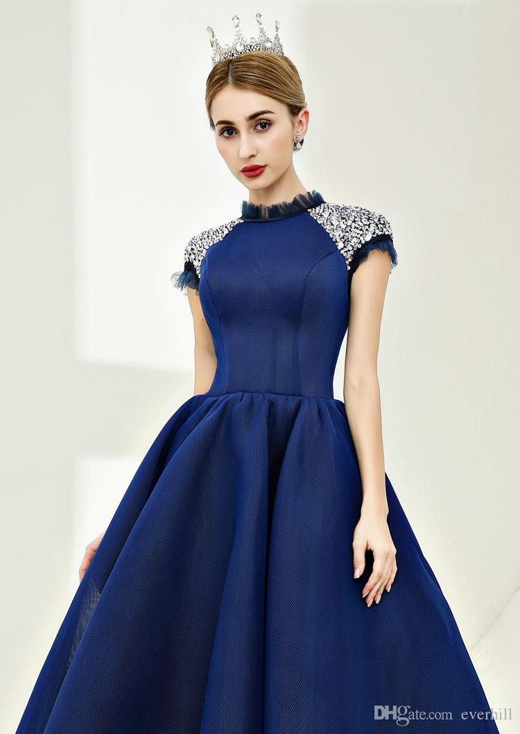 Dark Blue Elegant Prom Dress Cap Sleeve Long Dresses For Prom Vestidos De Baile 2018 A-Line Beaded Sequins Ankle-Length Evening Party Gowns