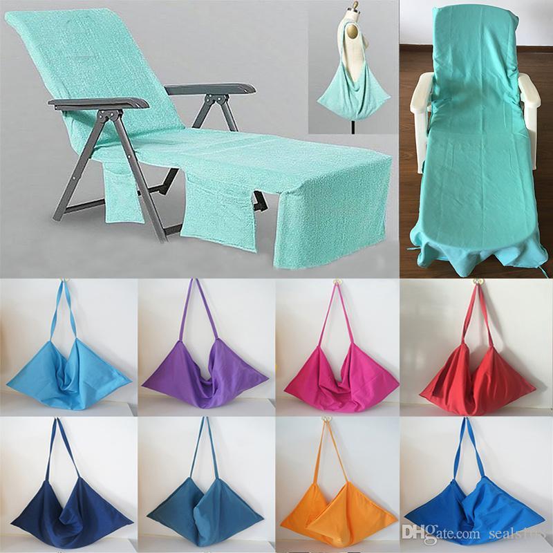 0375bcc50 Cadeira de praia portátil capa de praia toalha de microfibra piscina  espreguiçadeira capa cobertores com alça de praia toalhas de camada dupla  cobertor hh7- ...