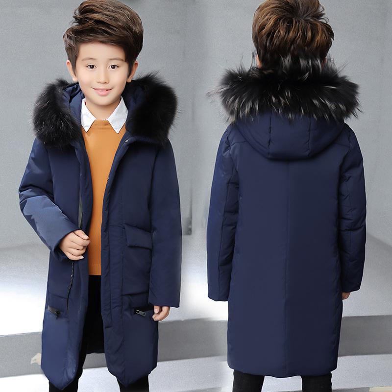 389042fd30ac Boys Long Real Big Fur Collar Down Jackets Children Winter Outdoor Hooded  Windproof Warm Down Coats Kids White Duck Jacket Discount Coats For Kids  Teens ...