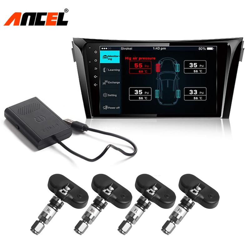 TPMS Tire Pressure Monitor for Android Car DVD Player USB Receiver Tyre  Auto Security Alarm Warning Internal/External Sensor