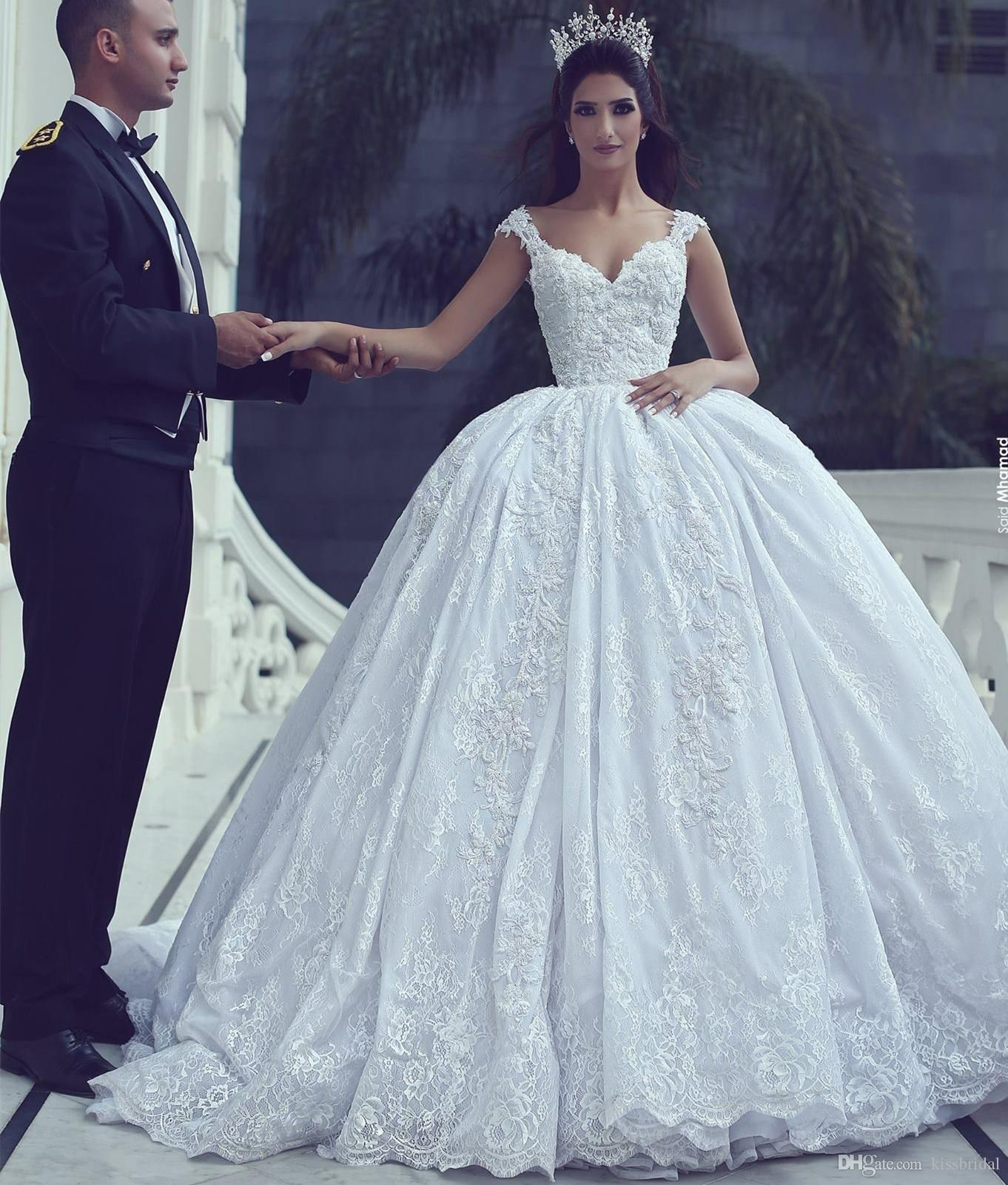 2dafa6ec6d8 Princess Ball Gown Wedding Dresses 2019 Lace Appliques Bridal Gowns With  Chapel Long Train Formal Dress For Bride With No Veil Grecian Style Wedding  Dresses ...