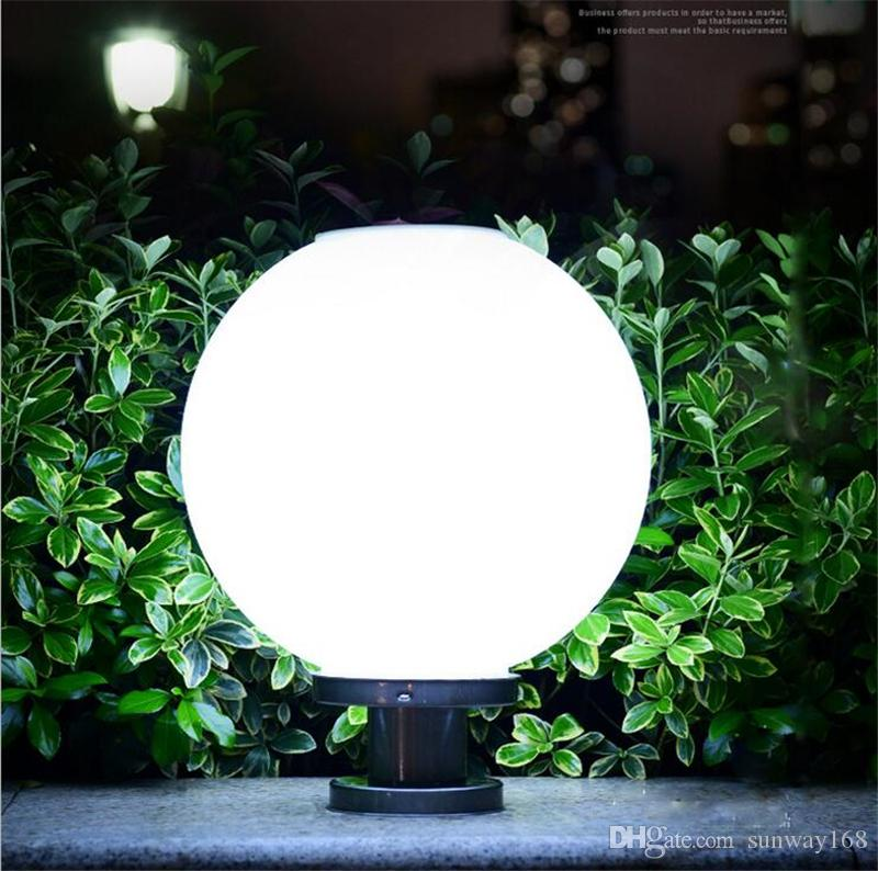 Online Cheap Round Solar Led Ball Shape Pillar Light White