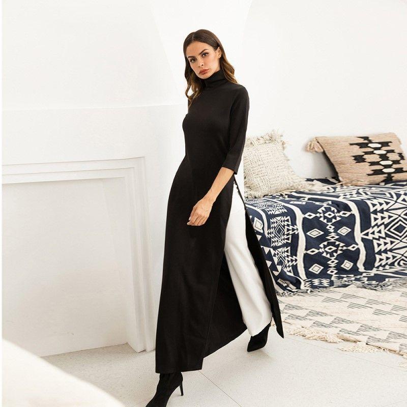 6f96bb1293565 Satın Al Kadın Siyah Elbise Kadın Sonbahar Zarif Örme Streç Elbiseler Artı  Boyutu M 2XL Bölünmüş Etek Ücretsiz Kargo, $10.56 | DHgate.Com'da