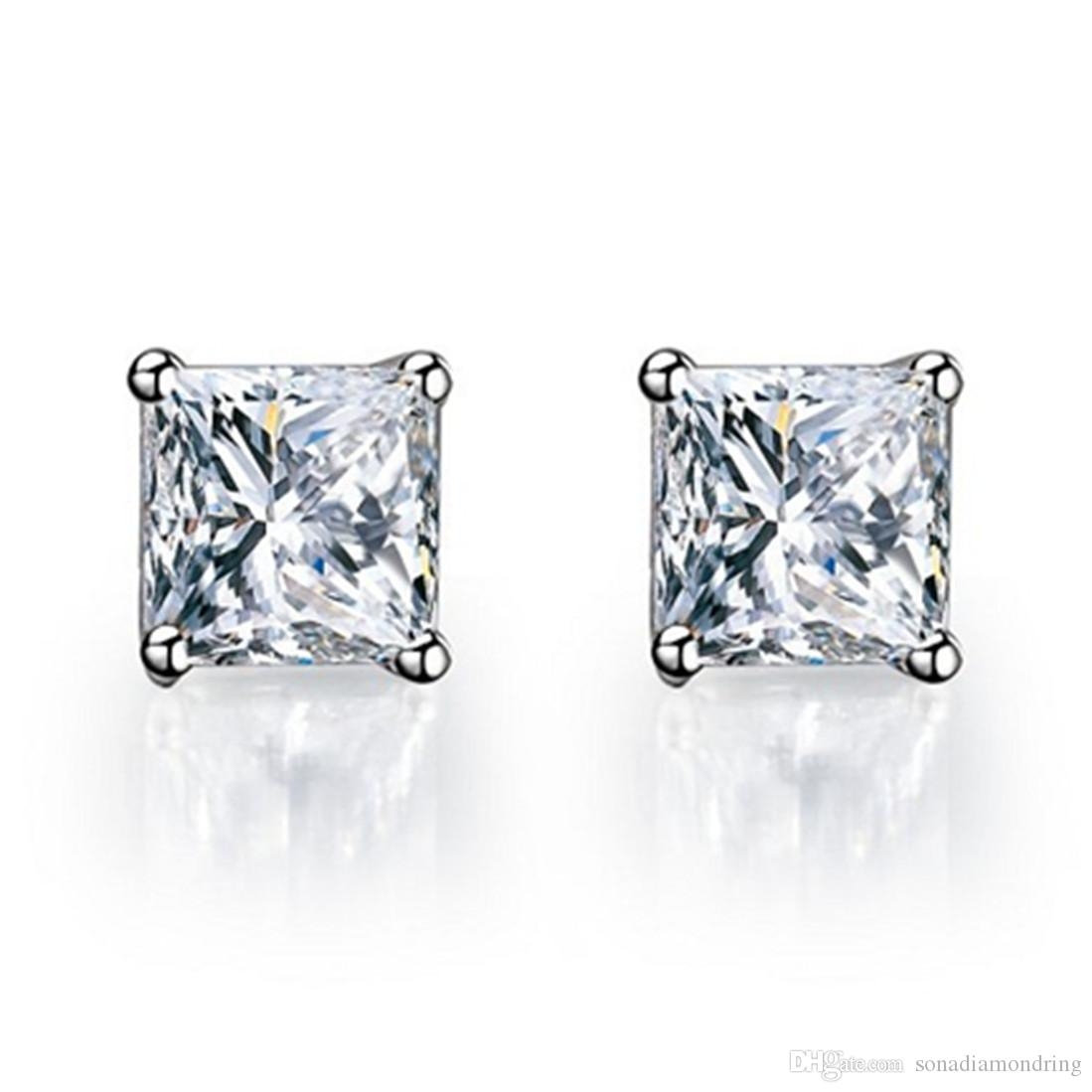 Princess Earrings Stud Engagement Jewelry Sterling Silver NSCD Synthetic Diamond  Earrings for Women 18K White Gold Plated Brand Quality Stud Princess ... d26ac95d0b32