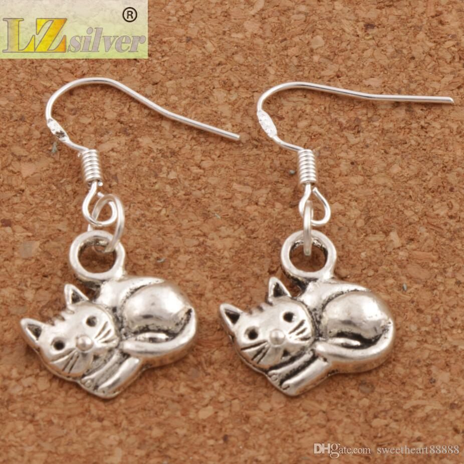 Yalan Kedi Küpe 925 Gümüş Balık Kulak Kanca 40 çift / grup Dangle 14x30mm Moda Takı E1153