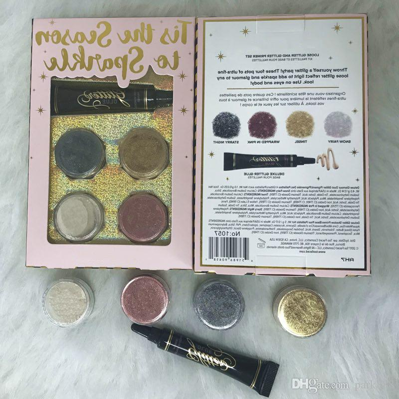 Hot Makeup Eyeshadow 4 Colors Loose Glitter And Glitter Primer Set Glitter Glue Tis The Season To Sparkle Set Dhl Shipping