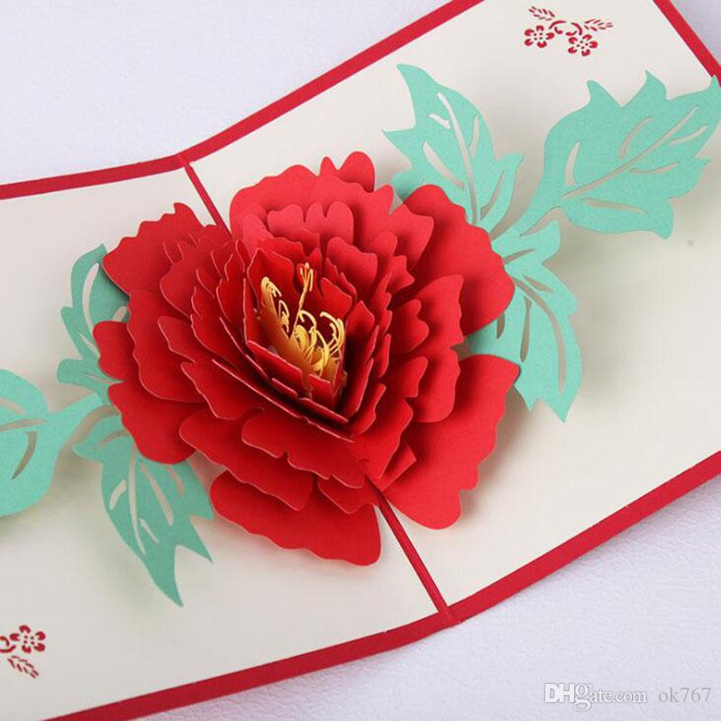 Wholesale Handicraft 3D Pop Up Greeting Cards Peony Birthday Valentine Flower Mother Day Christmas Invitation Card Free Animated
