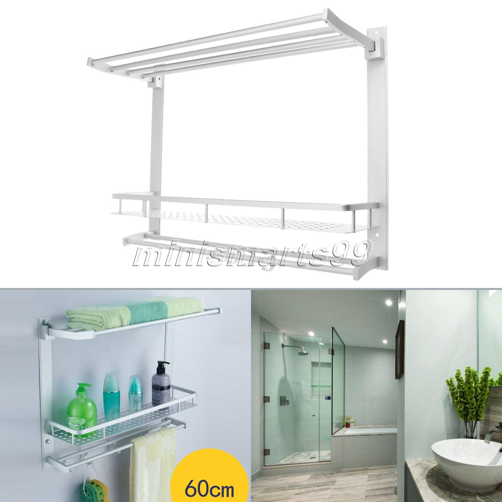 2018 60cm Double Layers Aluminum Bathroom Rack Towel Shelves Washing Shower Basket  Bathroom Accessories Shampoo Holder+Towel Bar+Hook From Blithenice, ...