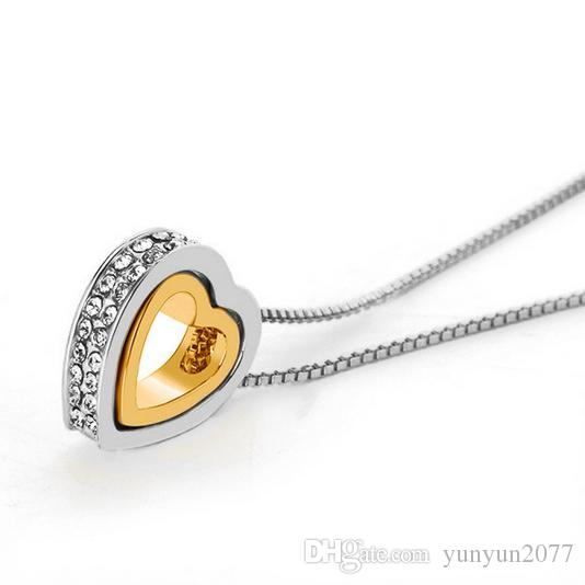 Luxury High-grade Fine Jewelry Accessories Crystal Rhinestones Eternal Love Hearts Pendants Real Gold Charms Chokers Necklaces For Women