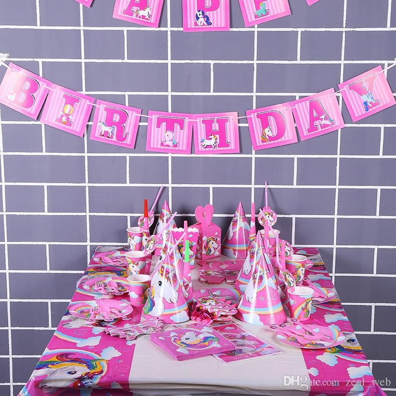 Unicorn Birthday Party Set Unicorn Party Supplies Set with Disposable Tableware Cake Toppers, Party Hanging Decoration Kit