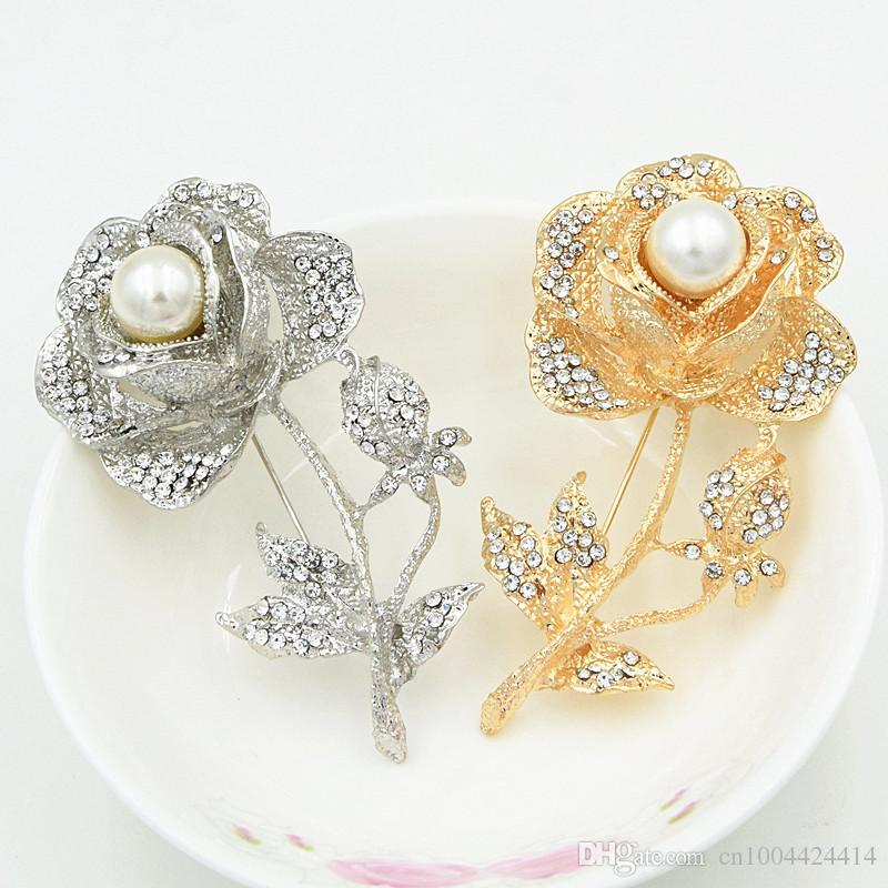 Sparkling Pretty Crystals Gold and Rhodium Plated Rose Brooch Elegant Large Rose Flower Pins With Faux Pearl Women Costume Brooches