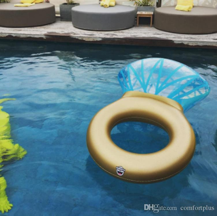 New Giant Thick PVC Diamond Ring Shape Swimming Tube Inflatable Pool Floating Raft Water Fun Toy