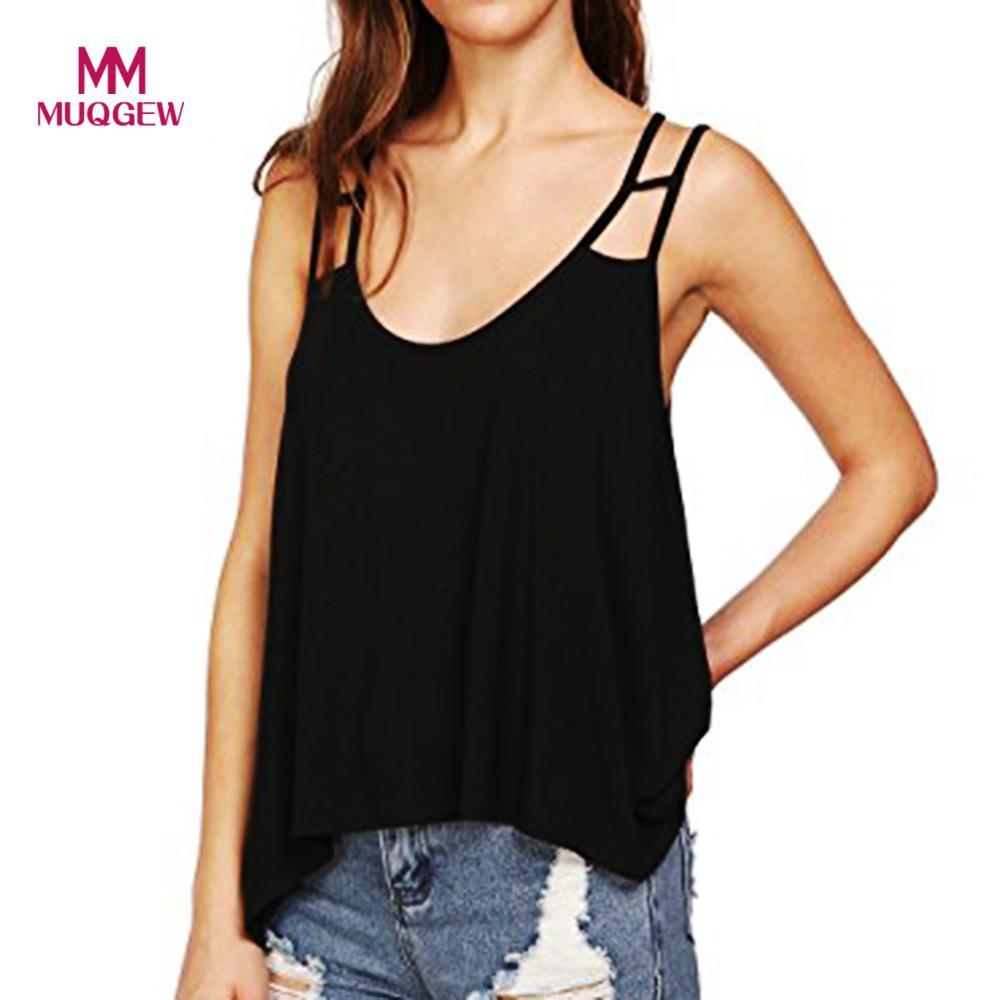 5538d56250e343 2019 2018 Women S Sexy Bandage Solid V Neck Flowy Strappy Loose Tank Tops  Camis Blouse Ladies  Strapless Tank Top From Sadlyric