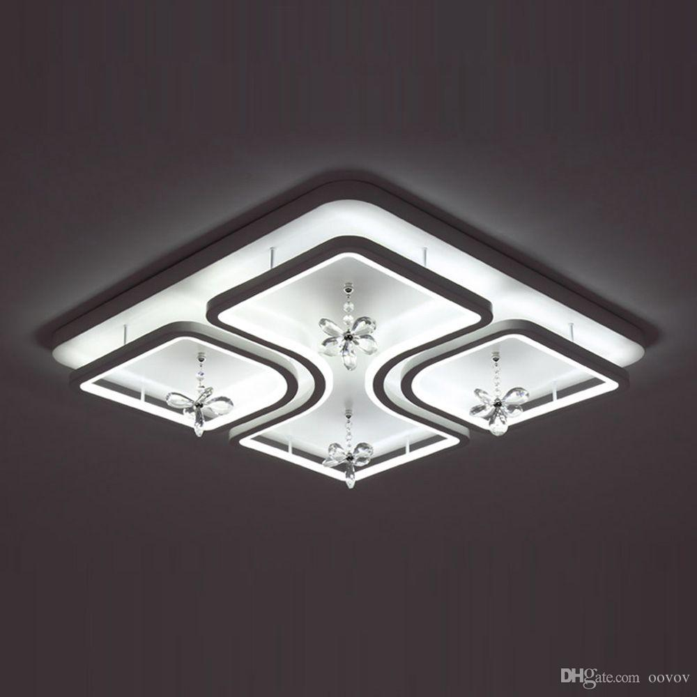 OOVOV LED Square Crystal Bedroom Ceiling Light,Kids Room Living Room Dining Room Ceiling Lamps,50cm,37W,White