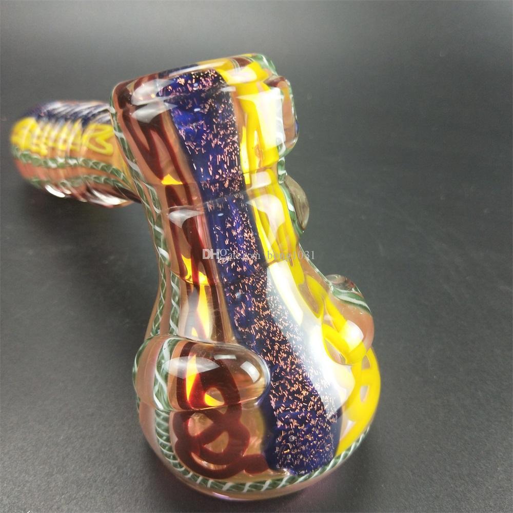 Pipes en verre lourd en gros avec bol en verre simple cuillère à bulles