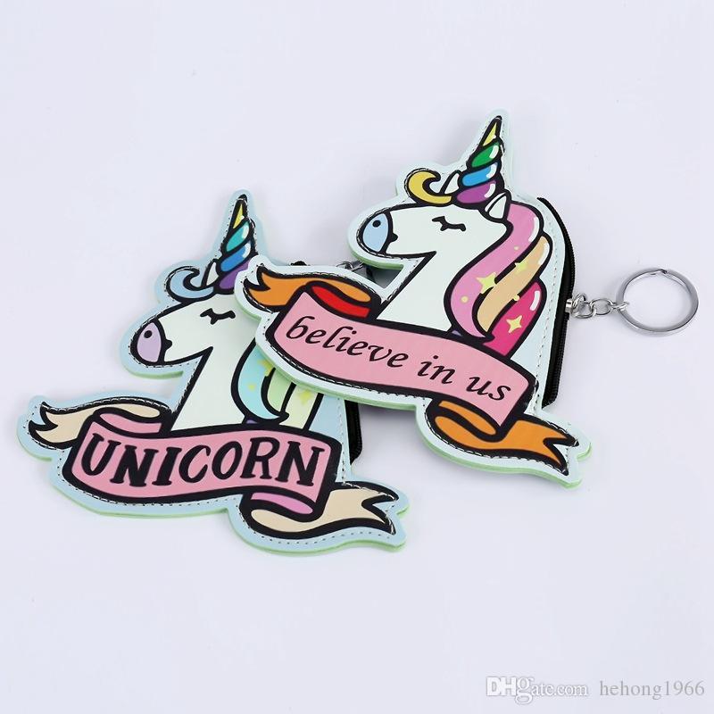 New Pattern Key Buckle Cartoon Unicorn Coin Bag Portable Zipper Design Practical Girl Popular Storage Wallet 4 8smc Y