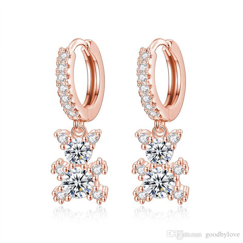 Cute Animal Jewelry Sets 18K Blanco / Oro Rosa Plateado Cubic Zircon Bear Hoop Pendientes Rolo Cadena Collar colgante para mujeres niñas