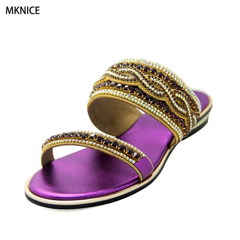 3ae50b1bdb34b5 Wholesale Size 37 43 New 2018 Summer Fashion Women Rhinestone Sandals  Ladies Party Shoes Woman Beach Sandals Luxury Rhinestone Shoes Uk Flat  Sandals From ...