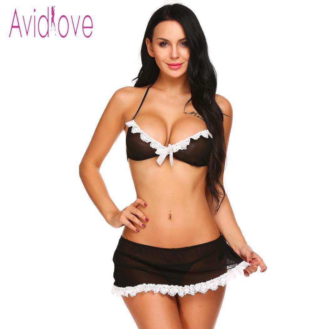 219d3244d Avidlove Lencería Sexy Conjunto De Lencería Erótica Lencería Negra Con  Adornos De Encaje Medio Sujetador Con Abertura Mini Falda Trajes De Mujer  Sexy ...