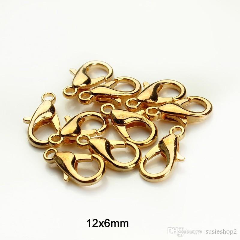 1000 قطع 12 ملليمتر معدن جراد البحر المشابك خطاف الذهب / الروديوم جراد البحر المشابك خطاف للمجوهرات جعل العثور diy قلادة