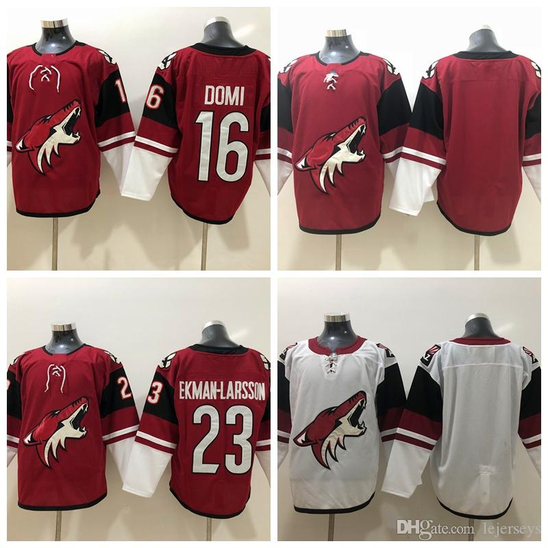 7db9d8722 2019 Arizona Coyotes 23 Oliver Ekman Larsson 16 Max Domi Hockey Jerseys  Stitched Red White Mens Blank No Name Number From Lejerseys