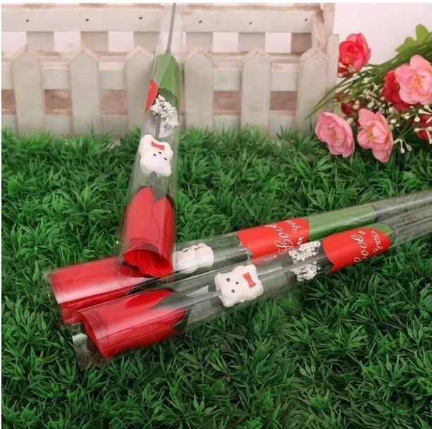 Моделирование роза цветок один красные розы мультфильм медведь с наклейкой в форме сердца День Святого Валентина подарок День матери подарок свадебные принадлежности GA208