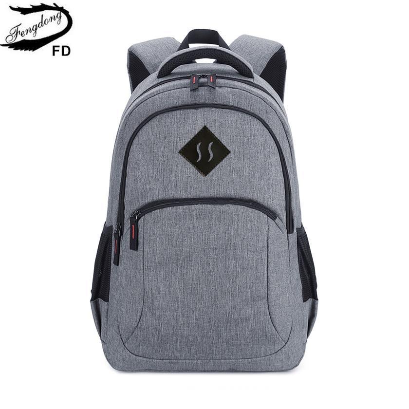 93d1d47815ef FengDong Grey High School Backpack For Boy Schoolbag Men School Bag College Bags  Male Travel Backpack Student Laptop Bag 15.6 Y18100804 Waterproof Backpacks  ...