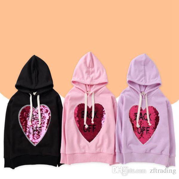 5f9392f857cd Baby Sequin Sweatshirt Heart Hoodies Cotton Round Neck Girl Sweater ...