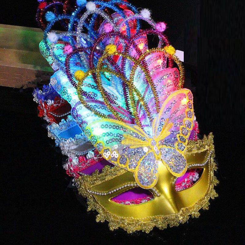Led Flashing Butterfly Mask Children Adults Venice Princess