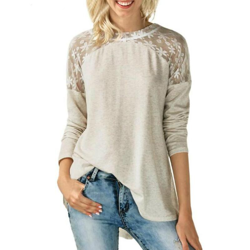 a1318f2b94204 Spring Summer Women T Shirt Womens 2019 O Neck Lace Long Sleeve Bowknot  Blusas T-shirts Tops Online with  36.8 Piece on Illusory02 s Store