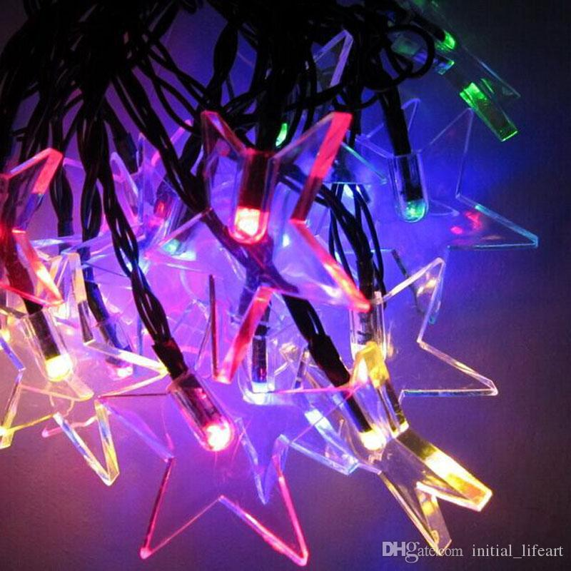 green power solar 30 leds plastic five pointed star string fairy lights for christmas party wedding garden fairy light decoration christmas party light