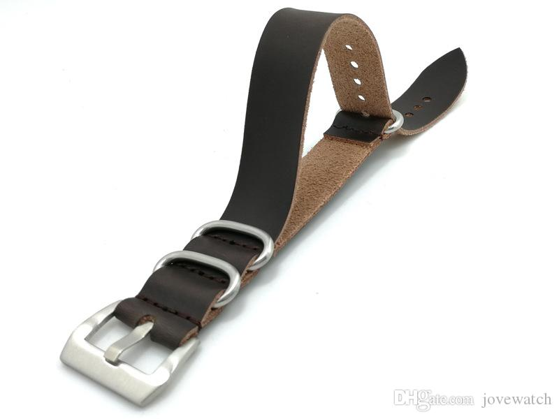 32697885180 New High-end Zulu Genuine Leather Black Brown Silver Buckle Black ...