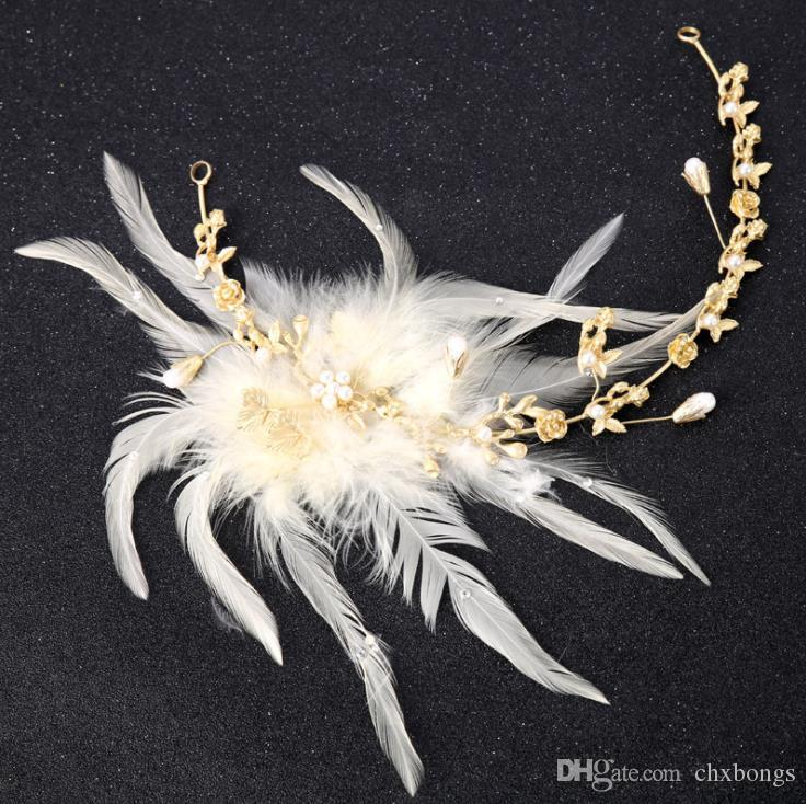 2018 cross-border hot feather headwear Smart simple white feather goddess hair accessories hair band spot