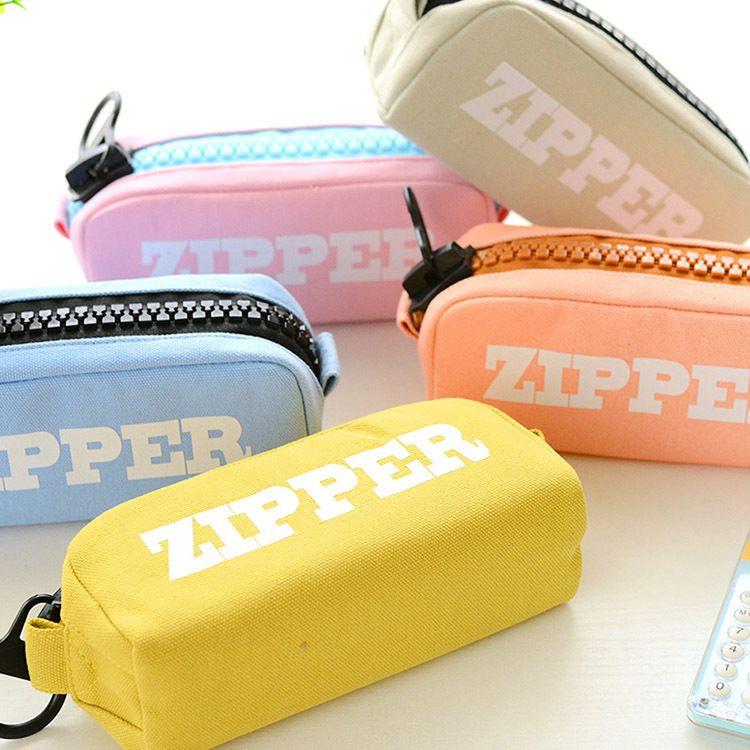 Korean Big Zipper Pencil Bag Large Capacity Canvas Pencil Case School Stationery Pen Storage Box Material Escolar Supplies LZ1886