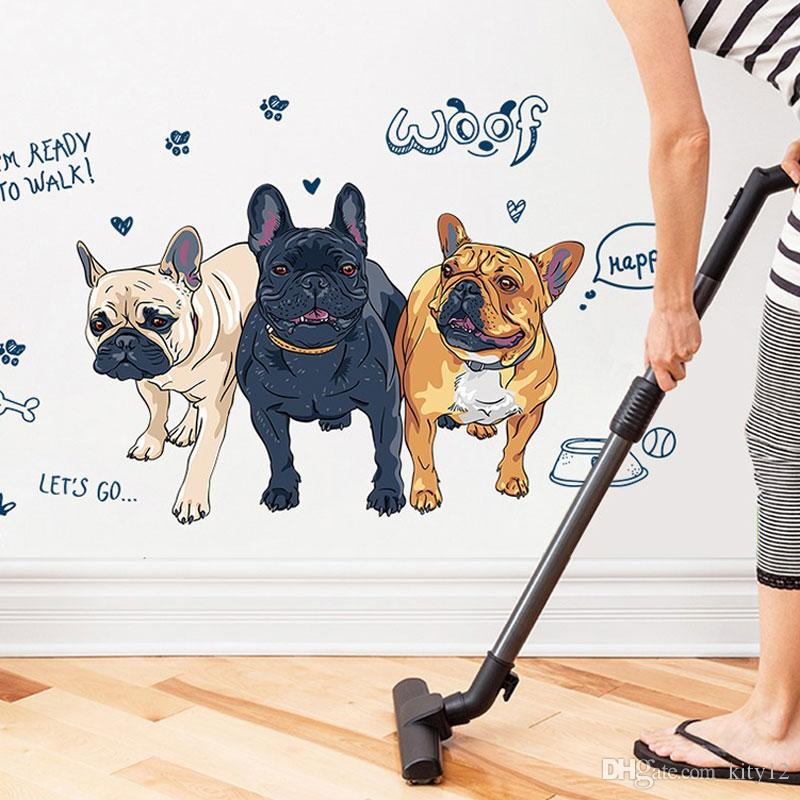 Cartoon Boy Wall Stickers Cute Dog Decals For Kids Rooms Home Decor