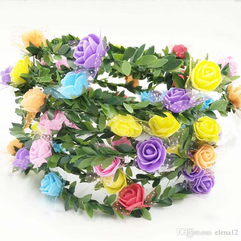 2018 Nueva Novia Espuma Flor de la venda de las mujeres Rose Crown Hairband Boda Guirnalda Cinta del pelo Banda Festival Flor del pelo corona 120024